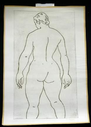 CA Etching Pyrography Print Female Nude Edward Hagedorn