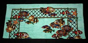 French 100% Cotton Beach Towel Tropical Fish Net Hermes