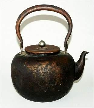 20C Japanese Copper Hot Water Tea Kettle w. Texture Fin