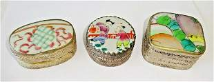 3x Chinese Silver Enameled Pottery Shard Boxes Floral