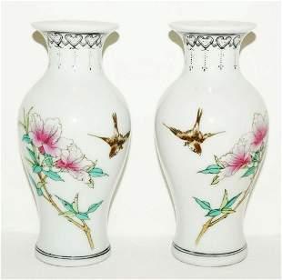 Pair Chinese Republic Period Miniature Vase Flower Bird