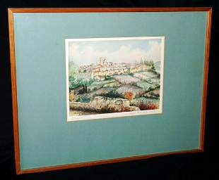 72 French Koa Frame Watercolor Saint-Paul de Vence