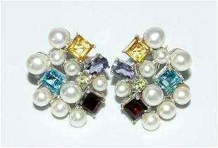 Vintage China 925 Silver Earrings Pearl Topaz Amethyst