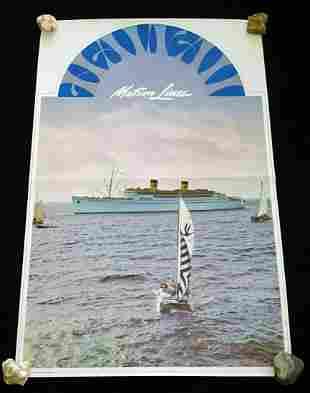 1960s Original Hawaii Matson Lines & Catamaran Poster