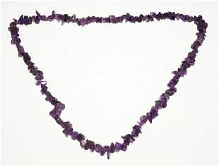 """Vintage Amethyst Bead Necklace 26"""""""
