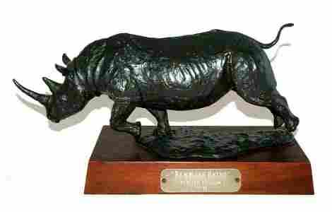 US Bronze Sculpture 3/15 Rambling Rhino Melvin Johansen