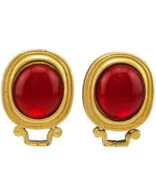 Yves Saint Laurent Red and Gold Earrings