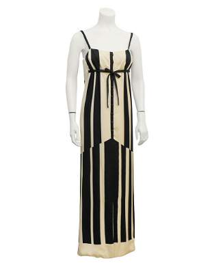 Pauline Trigere Black & White Abstract Stripe Silk Gown