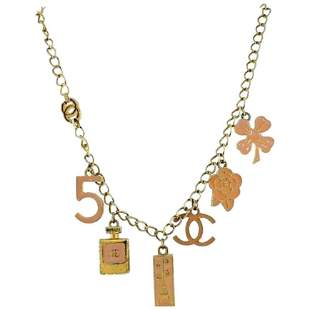 Costume CHANEL Chain Necklace w/ Pink Enamel Charms
