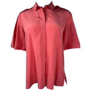 Balenciaga Paris Pink Coral Silk Short Sleeves Blouse