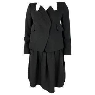 Carven Black Wool Blazer Jacket and Flare Mini Skirt
