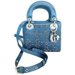 Mini Lady Dior Blue Cannage Satin w/ Rhinestones