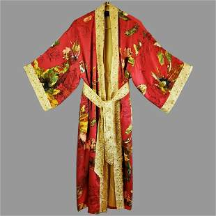 Vtg Belted kimono Robe Gold Embroidered Floral