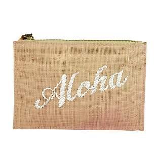 KAYU Aloha Palm Tree Pink Weaved Straw Zipper Top