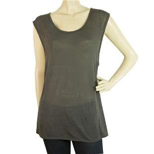 Helmut Lang Gray Long Blouse Wide Cap Sleeves T-Shirt