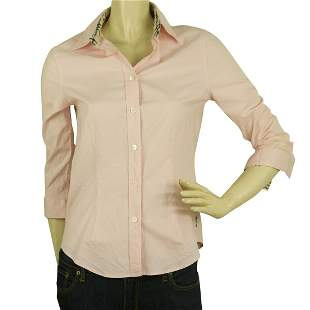 Burberry London Pink 3/4 sleeves Top Button Down Shirt