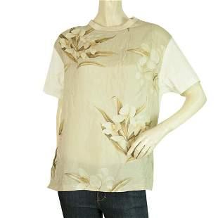 MONCLER Maglia Girocollo Silk Floral Front Beige Cotton