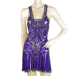 Jenny Packham Purple Silk Beaded Sleeveless X Back Mini