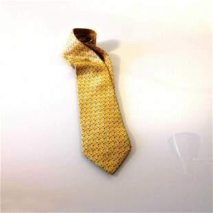 Les Copains 100% Silk Yellow Ducks Classic Men's Neck