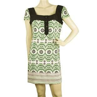 Tibi 100% Silk Green Black White Floral Short Sleeves