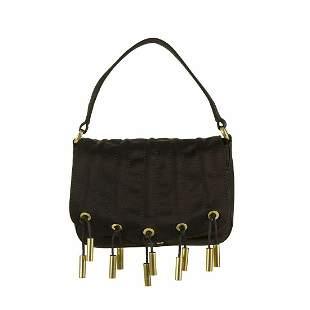 Donna Karan Collection Black Silk Gold tone Metallic