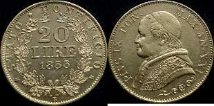 Italy, Papal States 20 Lire 1866 Pius IX - Gold
