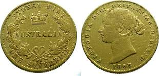 Australia Sovereign 1868 Sydney, Victoria - Gold Very