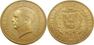 Dominican Republic 30 Pesos 1955 Rafael Trujillo - Gold