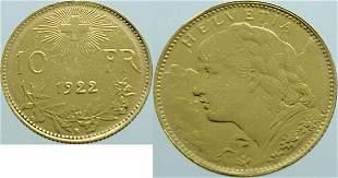 Switzerland 10 Franc 1922 Bern - Gold Extremely Fine