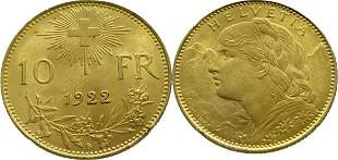 Switzerland 10 Francs 1922 Vreneli - Gold Extremely