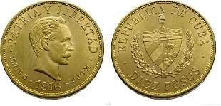 Cuba 10 Pesos 1916 José Marti - Gold Extremely Fine