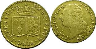 France Louis D`Or 1786-D (Lyon) Louis XVI - Gold Very
