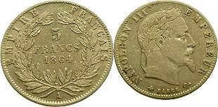 France 5 Francs 1864-A Napoléon III - Gold Very Fine