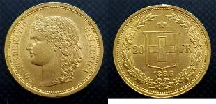 Switzerland 20 Francs 1886-B Helvetica - Gold Extremely