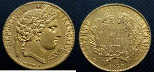 France 20 Francs 1850-A Ceres - Gold Extremely Fine