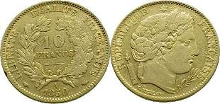 France 10 Francs 1850-A Ceres - Gold Very Fine+