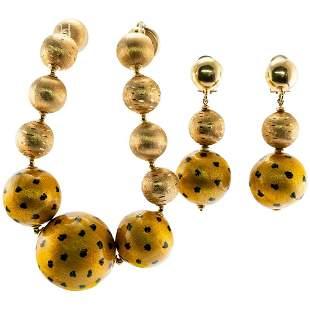 18K Gold Balls Enamel Bracelet Earrings Set by LOTO