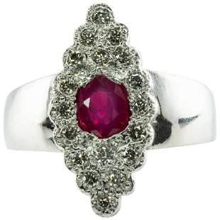 Diamond Ruby Ring 14K White Gold Band Vintage Floral