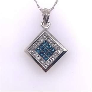 14Kt White Gold, 2.50ct Blue & White Diamond Pendant