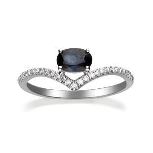 10K White Gold Blue Sapphire & Diamond Ring
