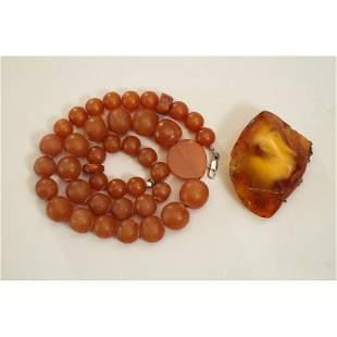 Butterscotch natural Baltic amber set of necklace and