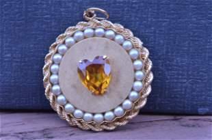 Vintage Citrine & Pearl Large Size Charm