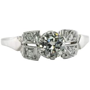 Platinum Diamond Ring Old cut Engagement