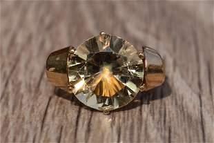 Antique Rose Gold Art Nouveau Ring set with Citrine