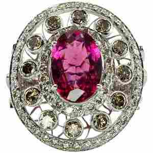 Diamond Rubellite Pink Tourmaline Ring 18K White Gold