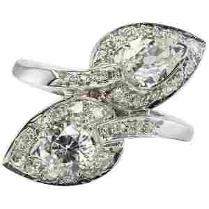 Diamond Ring 14K White Gold Vintage 2.07 TDW