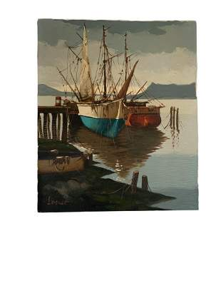 Original Signed Oil on canvas Painting of Harbor Scene