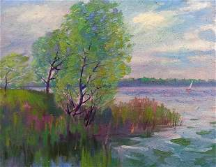 Oil painting By the river Peter Tovpev
