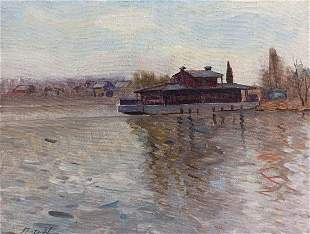 Oil painting In the port Peter Tovpev