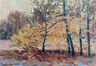 Oil painting Golden autumn Peter Tovpev